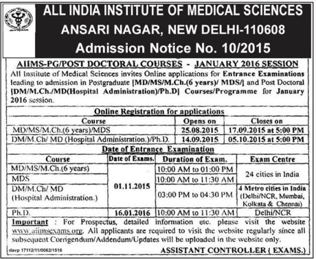 Admission notice for AIIMS